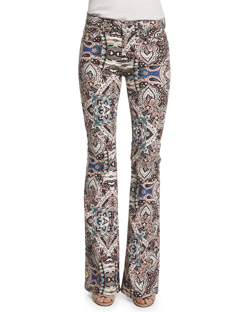 7 For All Mankind Low-Rise Paisley Flare-Leg Jeans
