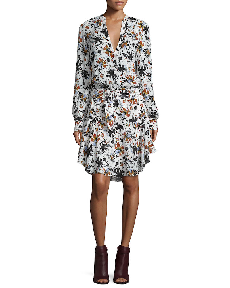 A.L.C. Way Long-Sleeve Floral Silk Dress_1