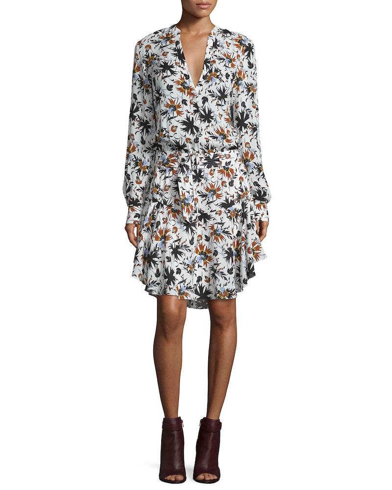 A.L.C. Way Long-Sleeve Floral Silk Dress_1