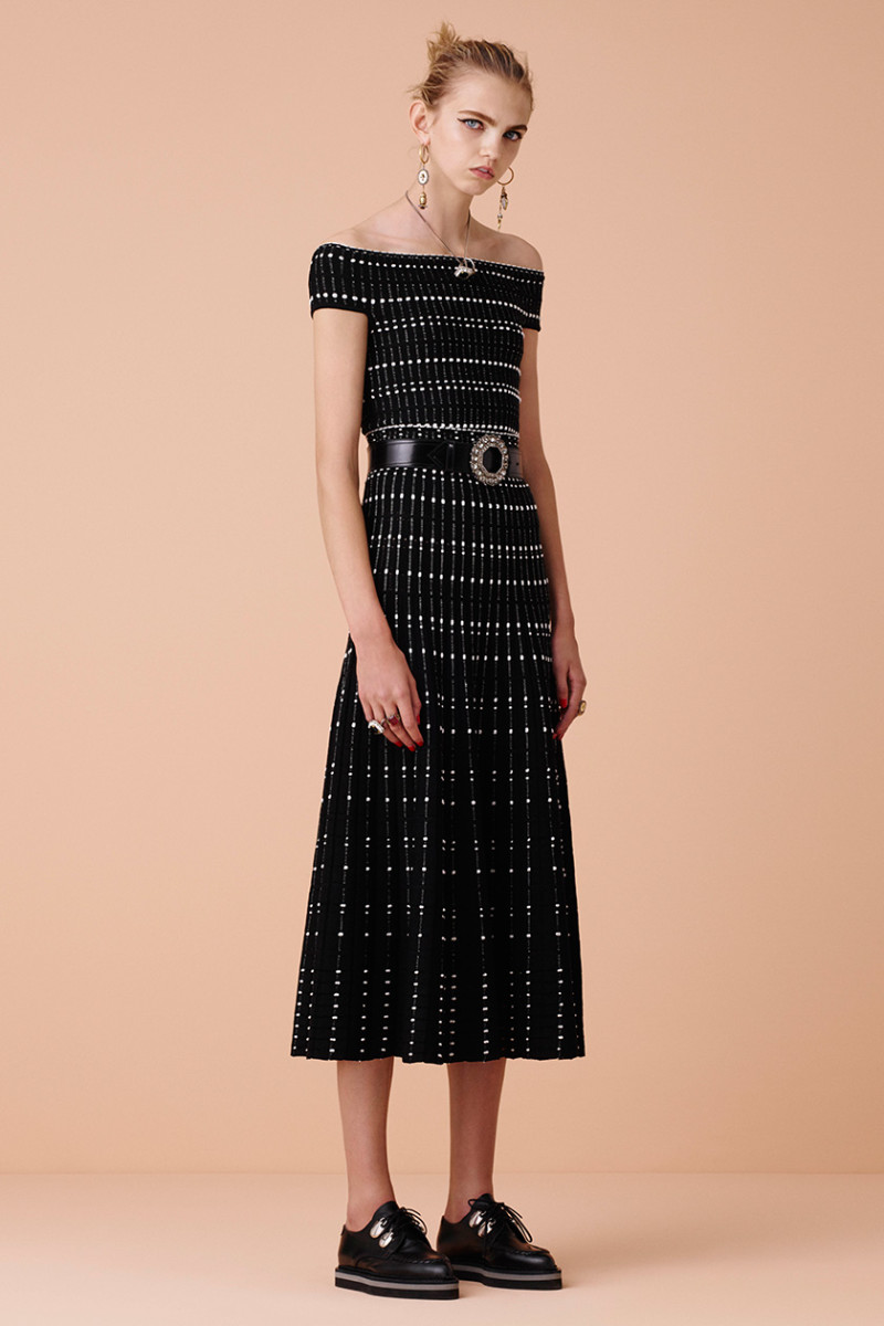Alexander McQueen Off-the-shoulder intarsia-knit gown