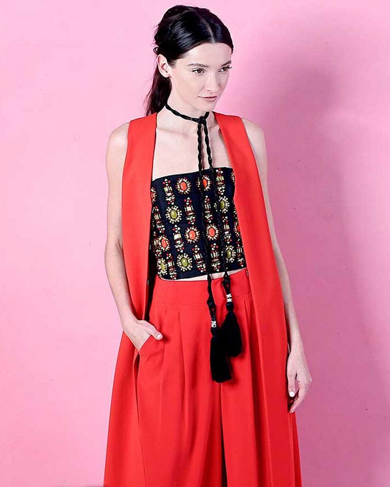 Alice + Olivia Angelica Long Crepe Shawl-Collar Vest