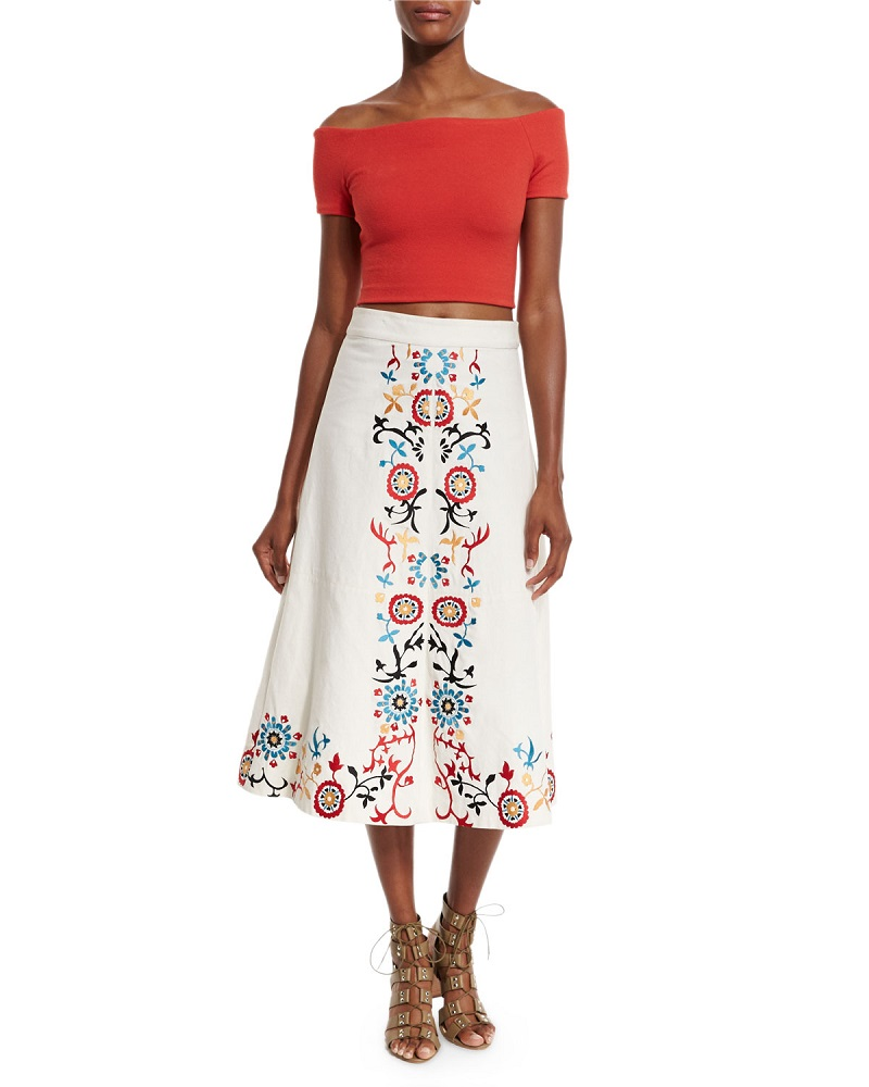 Alice + Olivia Giselle Embroidered Midi Skirt-