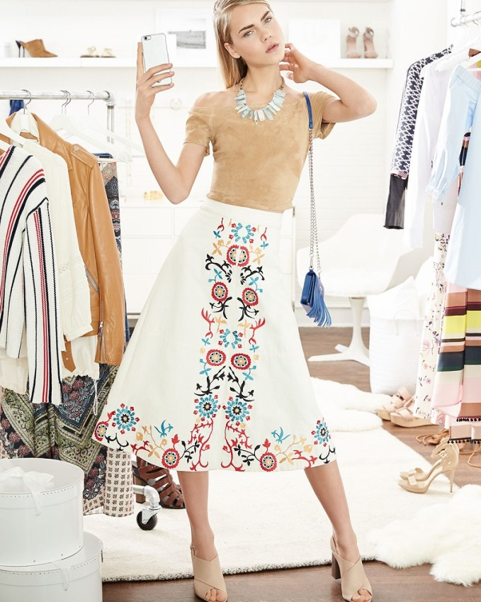Alice + Olivia Giselle Embroidered Midi Skirt