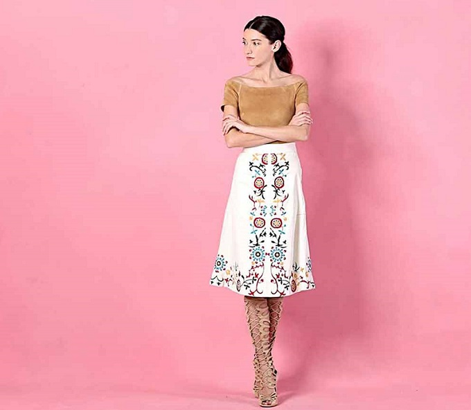 Alice + Olivia Giselle Embroidered Midi Skirt