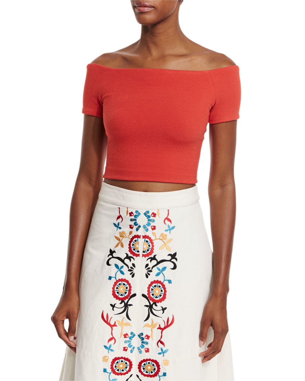 Alice + Olivia Gracelyn Off-the-Shoulder Cropped Top