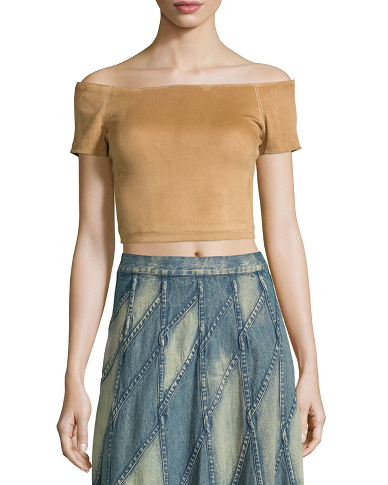 Alice + Olivia Gracelyn Suede Off-the-Shoulder Cropped Top