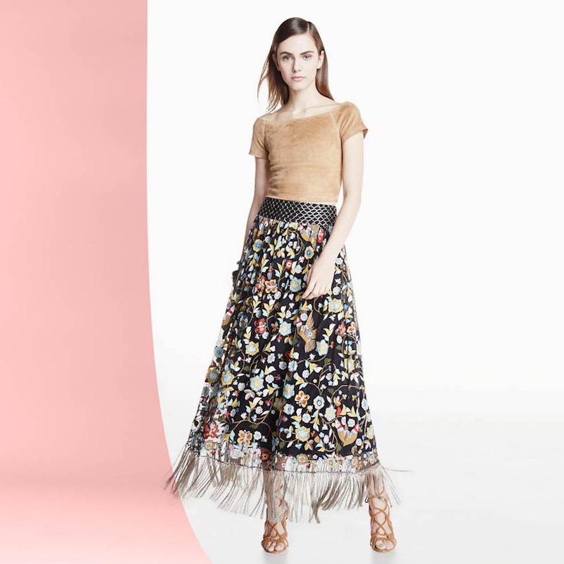 Alice + Olivia Kamryn Floral Fringe-Trim Maxi Skirt