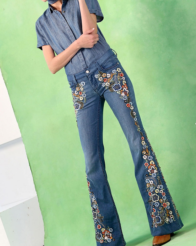 Alice + Olivia Ryley Embroidered Flare Jeans