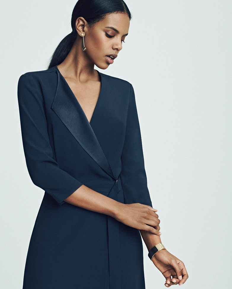 Ann Taylor Satin Collar Wrap Dress