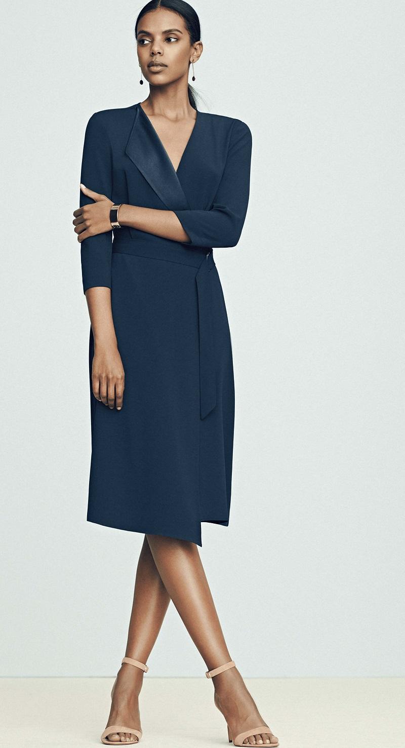 Ann Taylor Satin Collar Wrap Dress