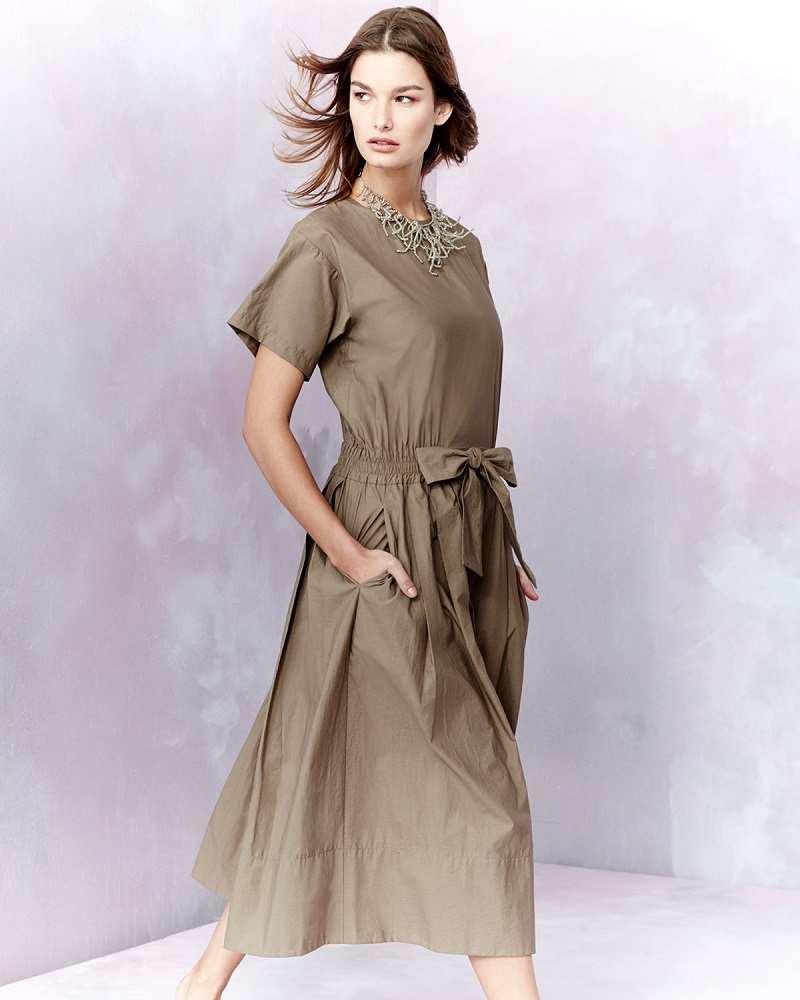 Brunello Cucinelli Short-Sleeve Belted Shirtdress