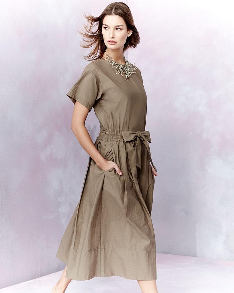 Brunello Cucinelli Short-Sleeve Belted Shirtdress