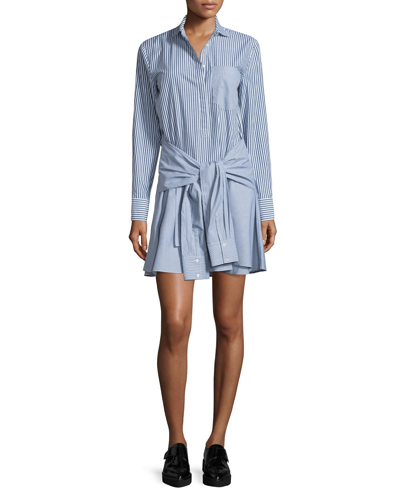 Derek Lam 10 Crosby Long-Sleeve Striped Cotton Tie-Waist Shirtdress-