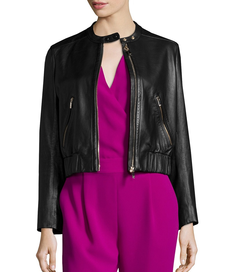 Diane von Furstenberg Buckley Zip-Front Lamb Leather Jacket-