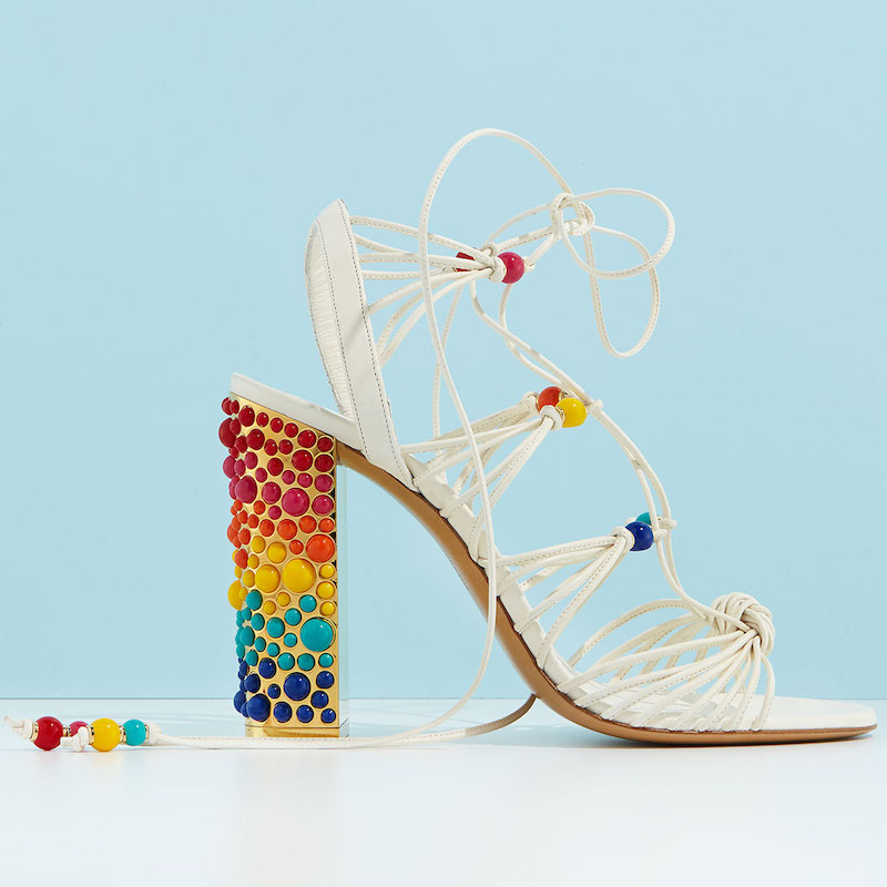 Edgardo Osorio for Salvatore Ferragamo Rainbow Beaded Gladiator Sandal