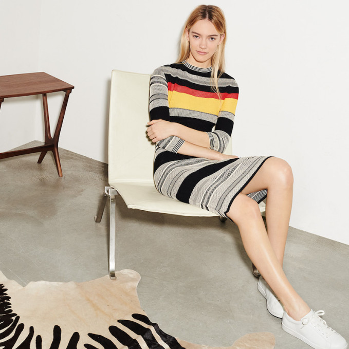 Edition10 Short Sleeve Striped Dress