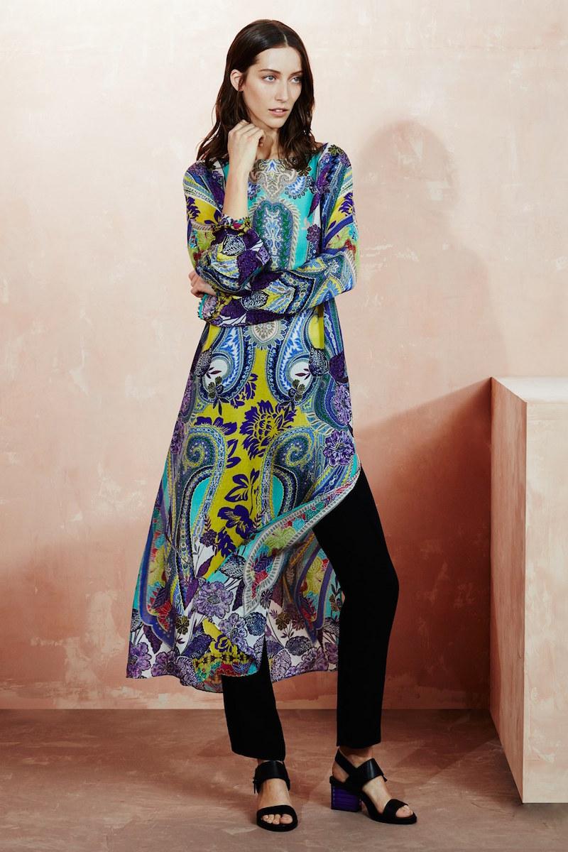 Etro Butterfly Sleeve Print Silk Crepe Caftan