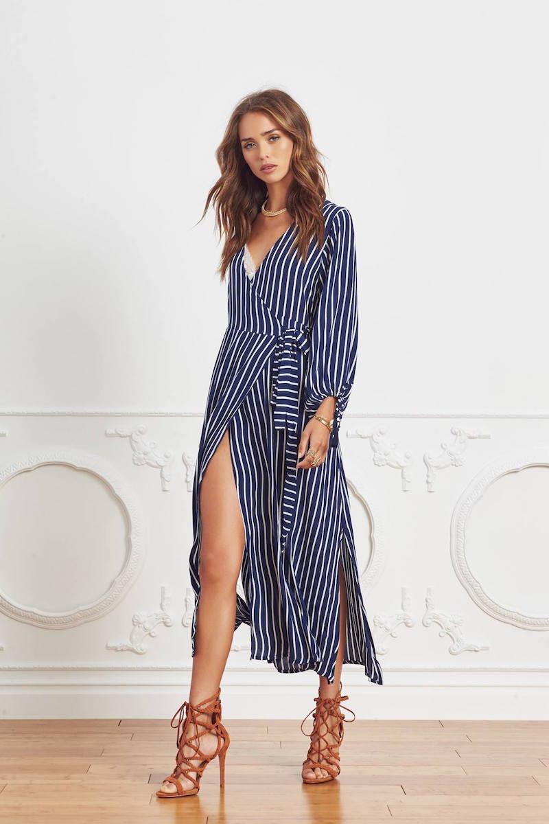 Faithfull The Brand Atlas Story Stripe Wrap Maxi Dress