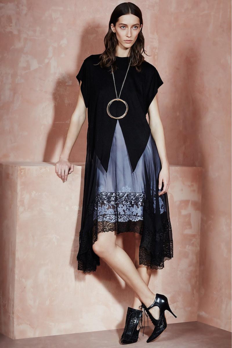 Givenchy Lace Trim Jersey & Chiffon Tunic