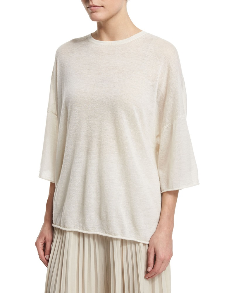 Helmut Lang Boxy Cashmere Raw-Edge Tee