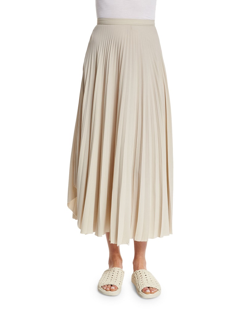 Helmut Lang Pleated Chiffon High-Waist Midi Skirt-