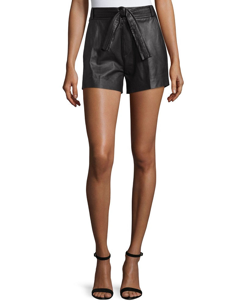 IRO Bridge Belted Leather Shorts
