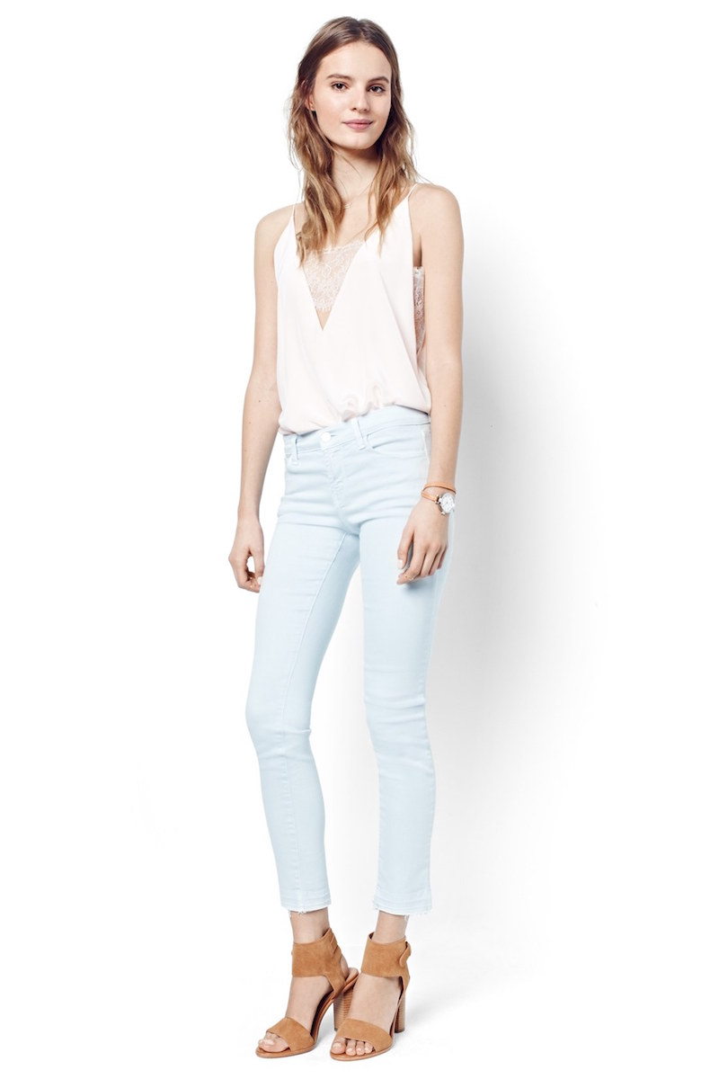 J Brand Released Hem Ankle Skinny Jeans in Pale Smoke