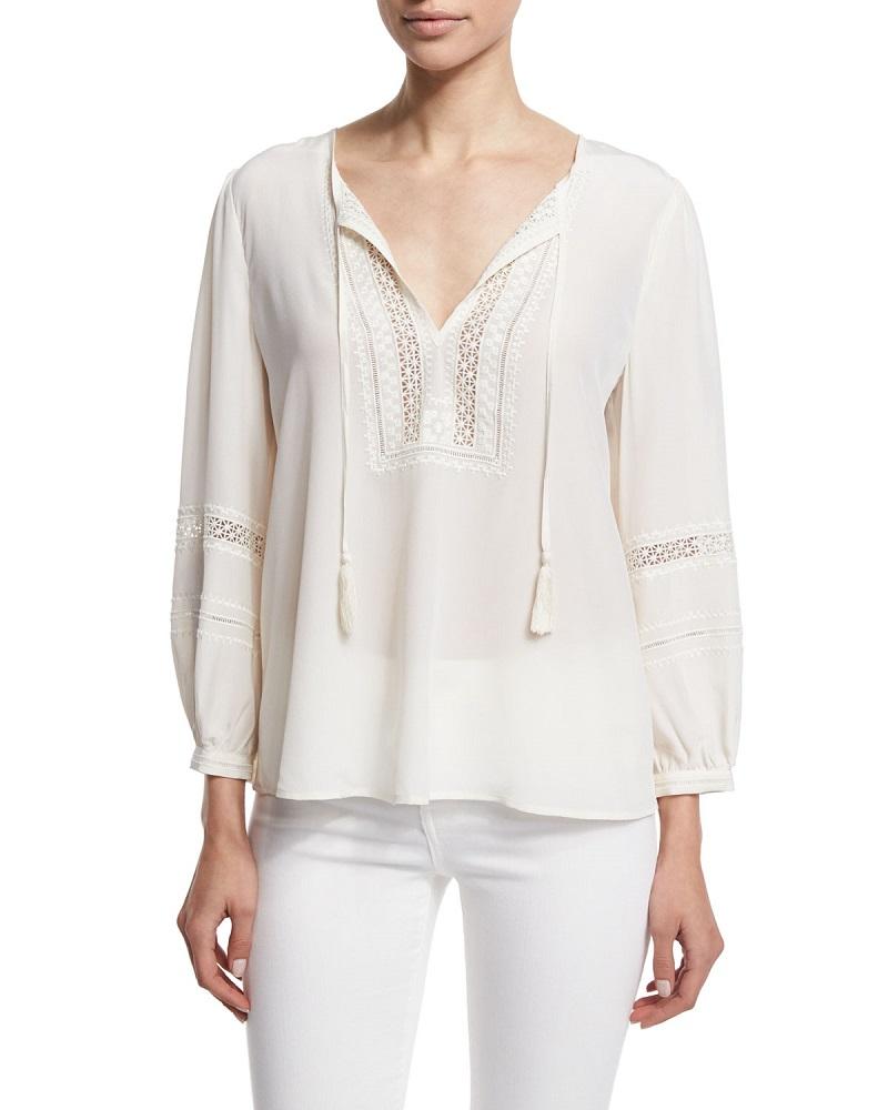 Joie Aline Embroidered Split-Neck Silk Top-