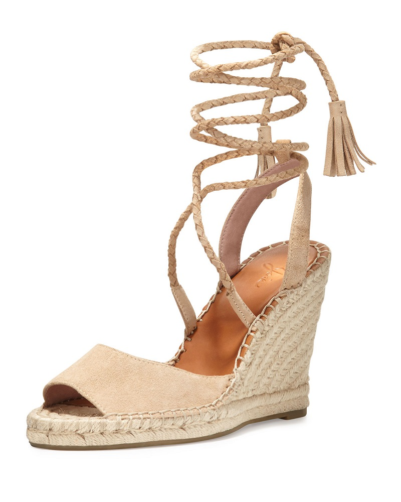 Joie Phyllis Suede Lace-Up Wedge Espadrille Sandal