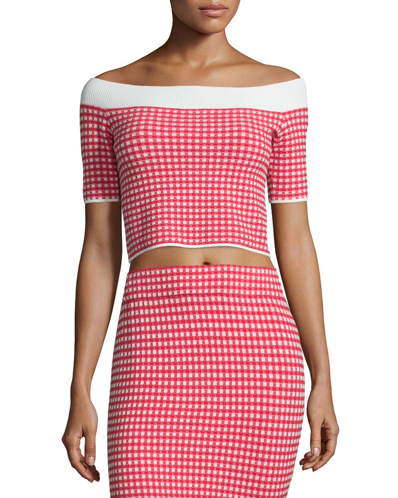 Jonathan Simkhai Gingham Stretch Off-the-Shoulder Crop Top-