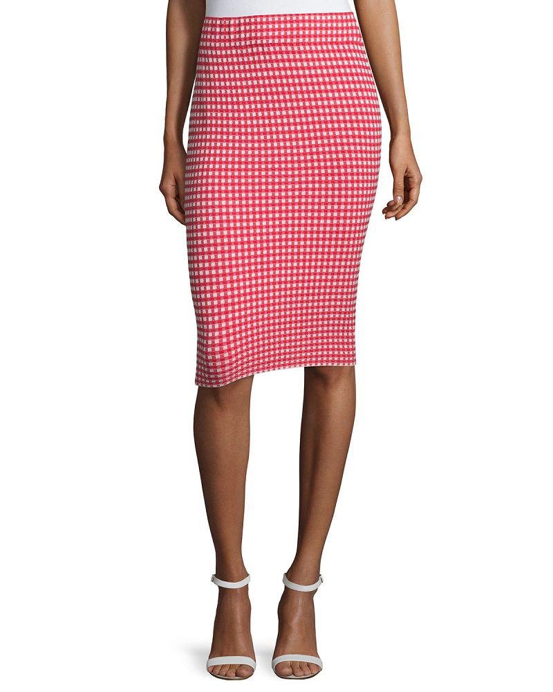 Jonathan Simkhai Gingham Stretch Pencil Skirt