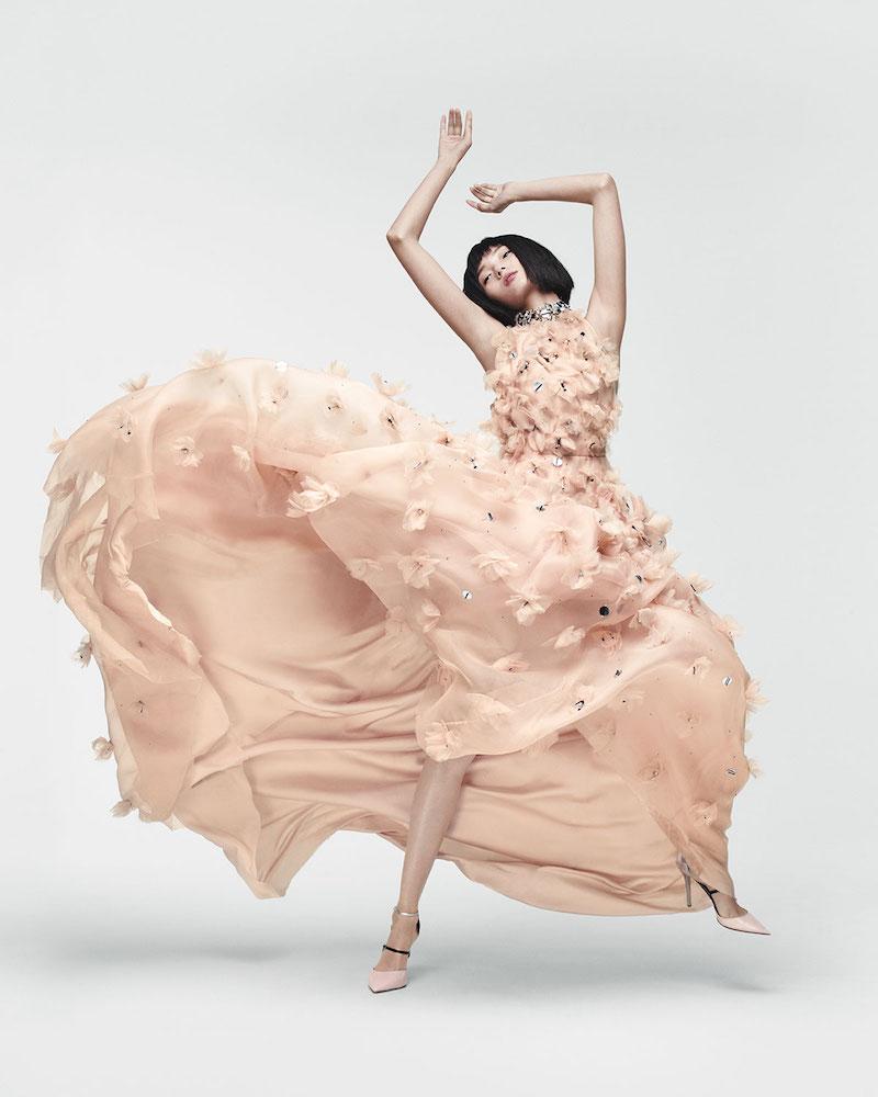 Lela Rose Halter-Neck Embellished-Floral Gown