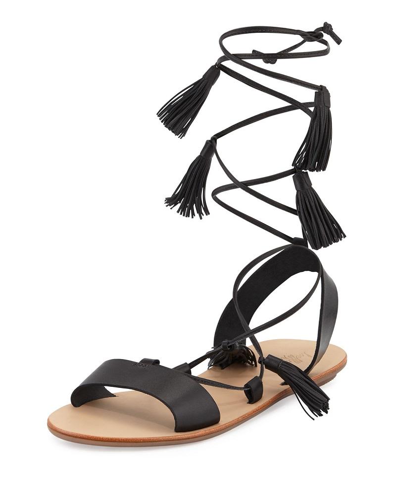 Loeffler Randall Saffron Leather Tassel Flat Sandal