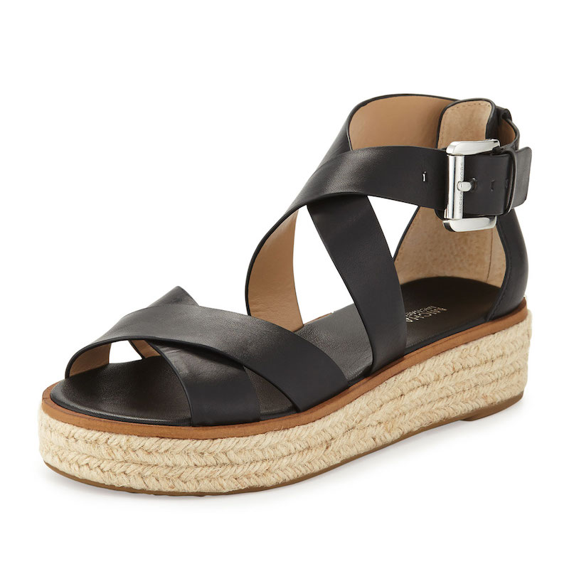 MICHAEL Michael Kors Darby Leather Crisscross Sandal_Black