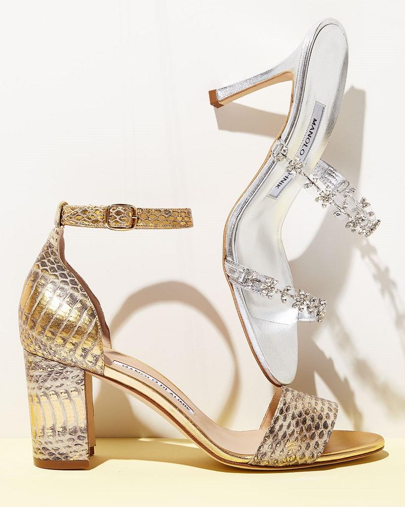 Manolo Blahnik Lauratomod Snakeskin Ankle-Wrap Sandal