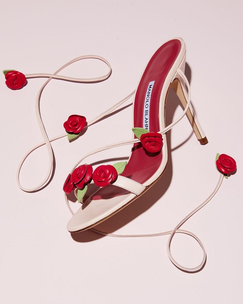 Manolo Blahnik Xiafore Rose Ankle-Wrap Sandal