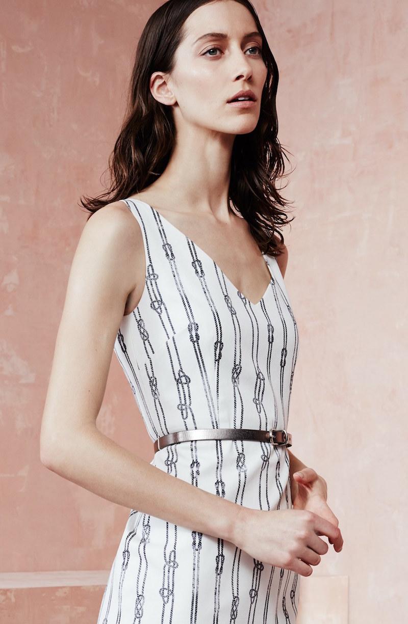 Max Mara Obliqua Print Stretch Cotton Sheath Dress