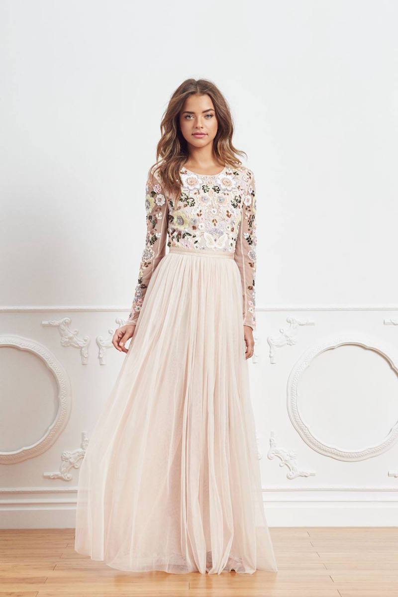 Needle & Thread Floral Cluster Embellished Gown