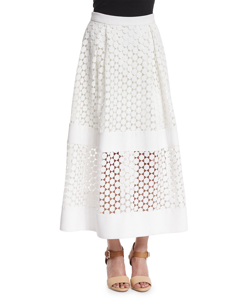 Nicholas Geometric-Lace Ball Skirt