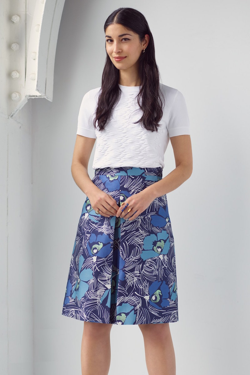 Nordstrom Signature and Caroline Issa Center Pleat Wool & Silk Twill Skirt
