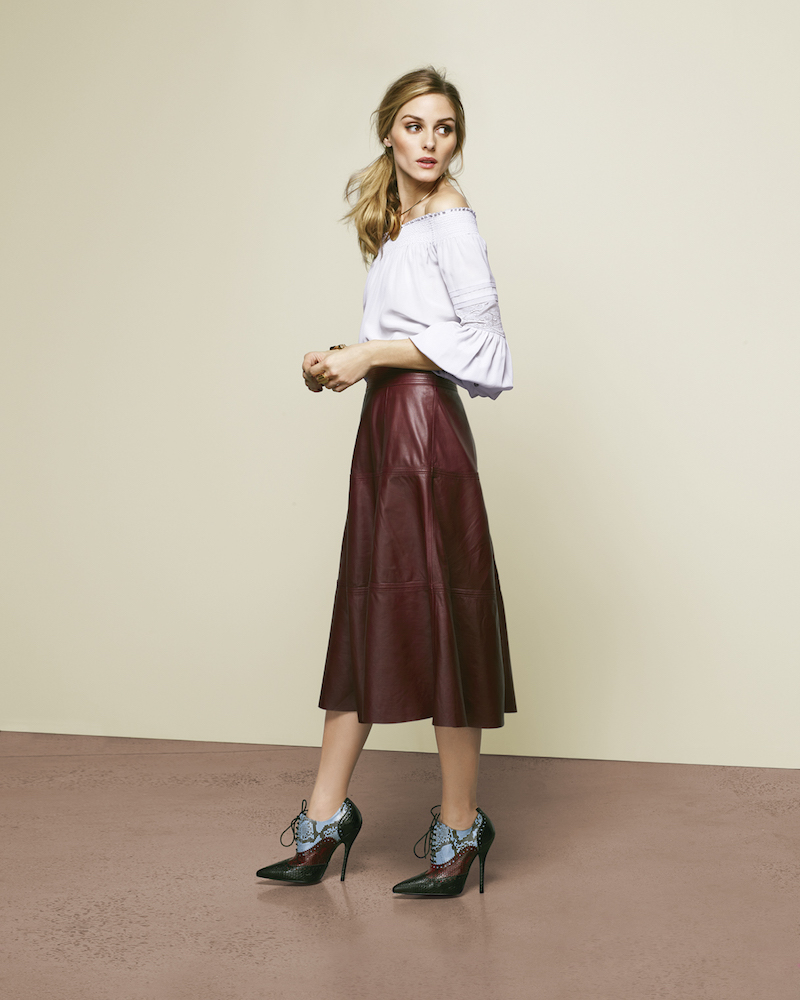 Olivia Palermo + Chelsea28 Leather Skirt