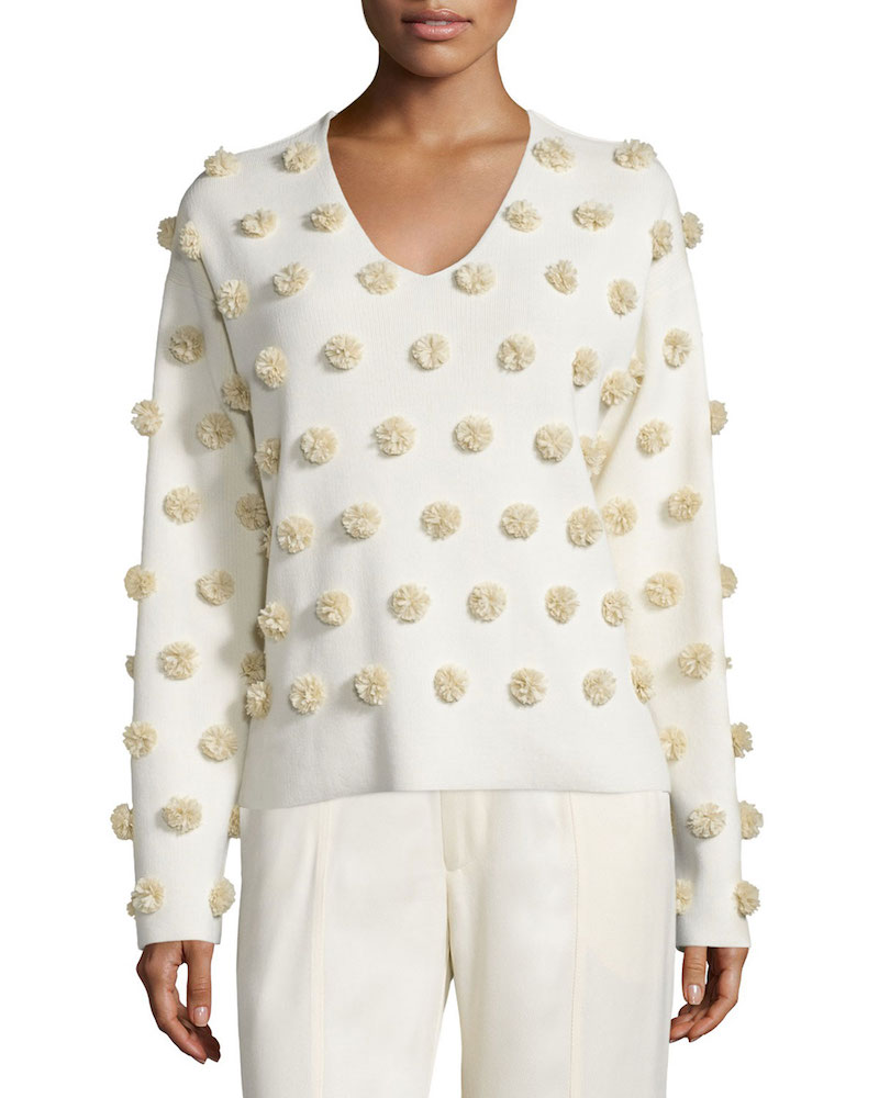 Opening Ceremony Pom-Pom V-Neck Boxy Top_1