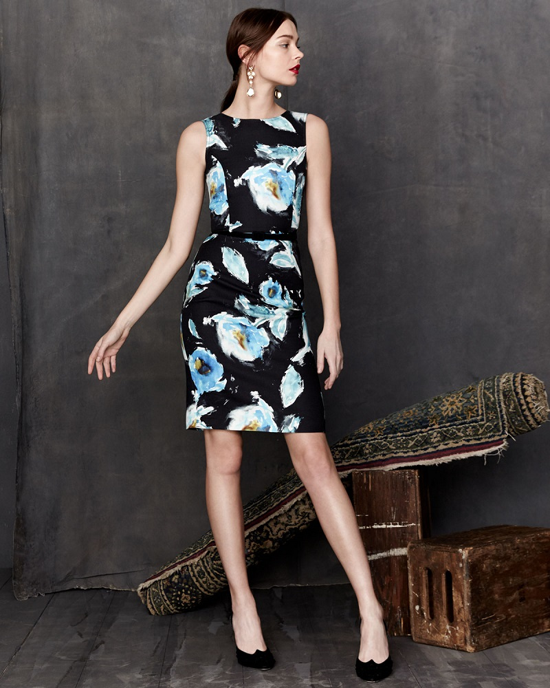 Oscar de la Renta Sleeveless Floral-Print Day Dress