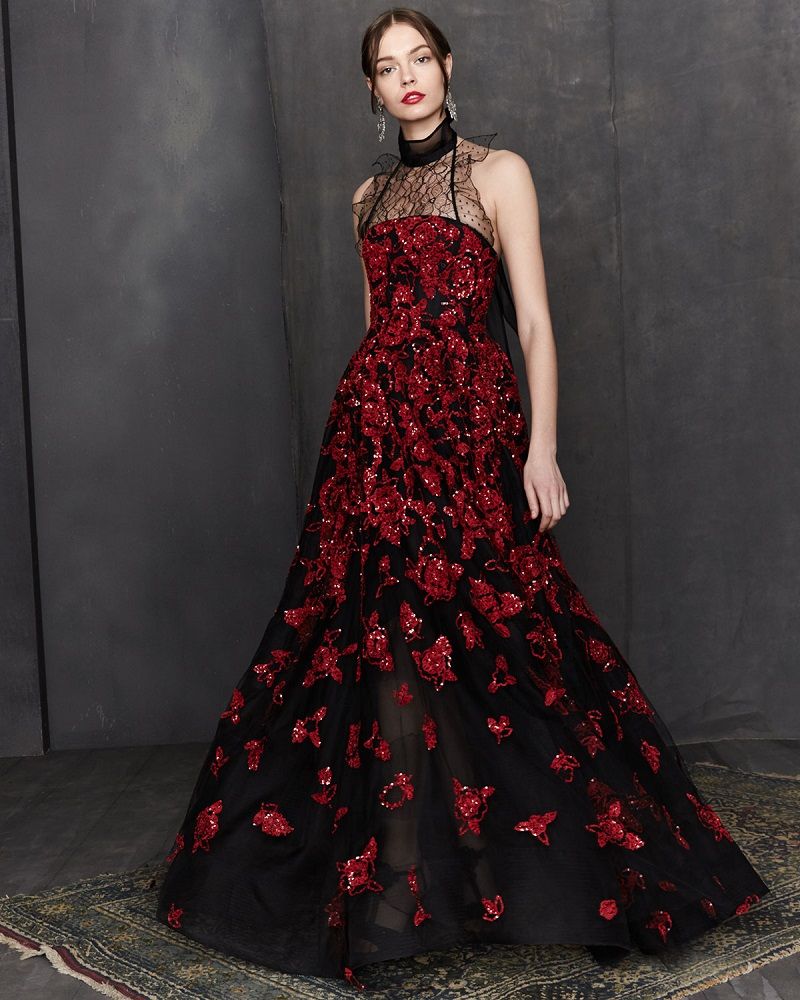 Oscar de la Renta Strapless Sequined Floral-Embroidered Gown