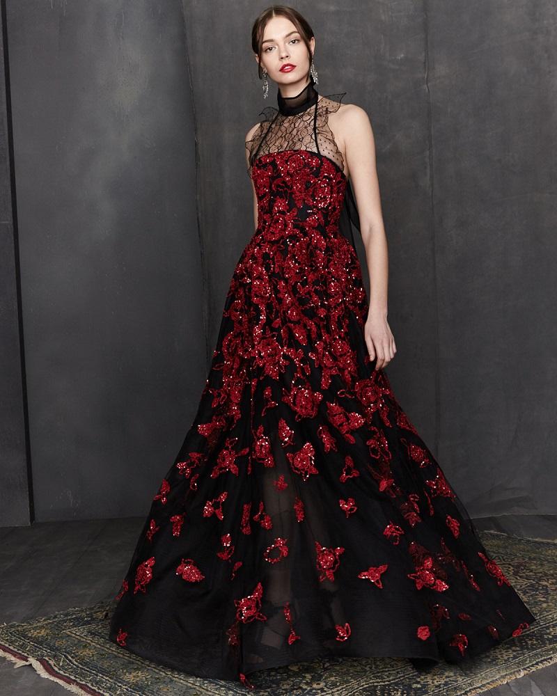 Oscar de la Renta Strapless Sequined Floral-Embroidered Gown