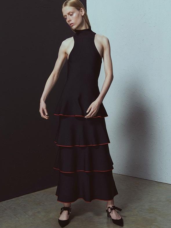 Proenza Schouler Contrast-edge tiered crepe dress