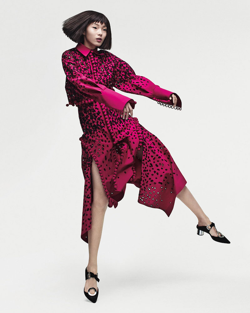 Proenza Schouler Long-Sleeve Degrade Embroidered Eyelet Dress