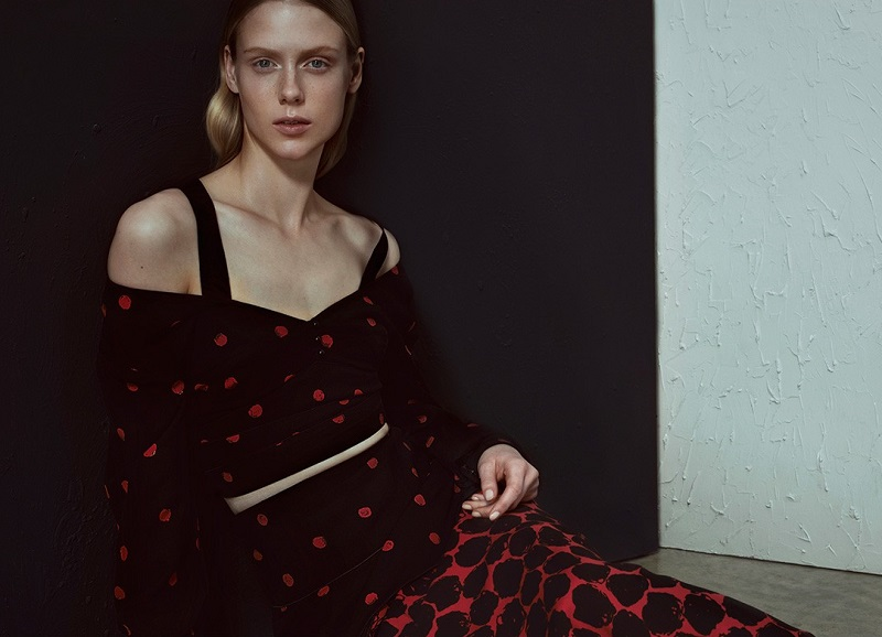 Proenza Schouler Off-the-shoulder dot-print cropped top