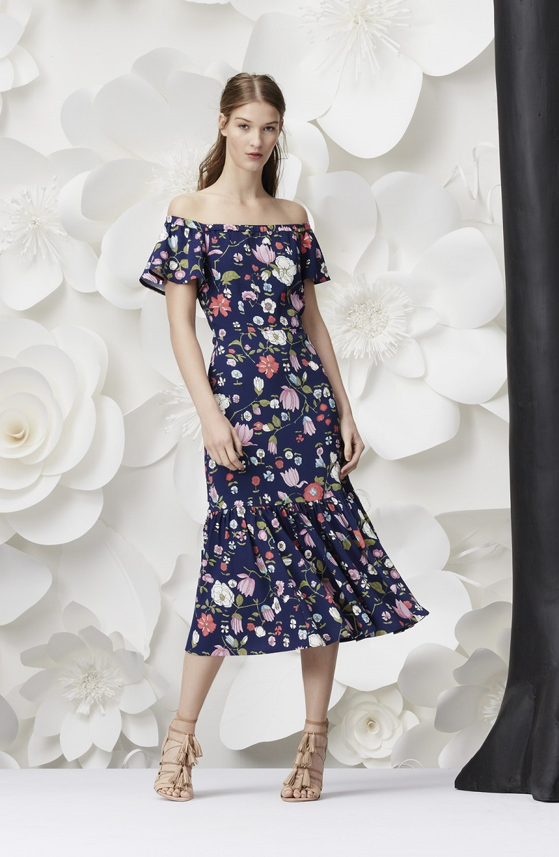 Rebecca Taylor Off the Shoulder Floral Print Dress