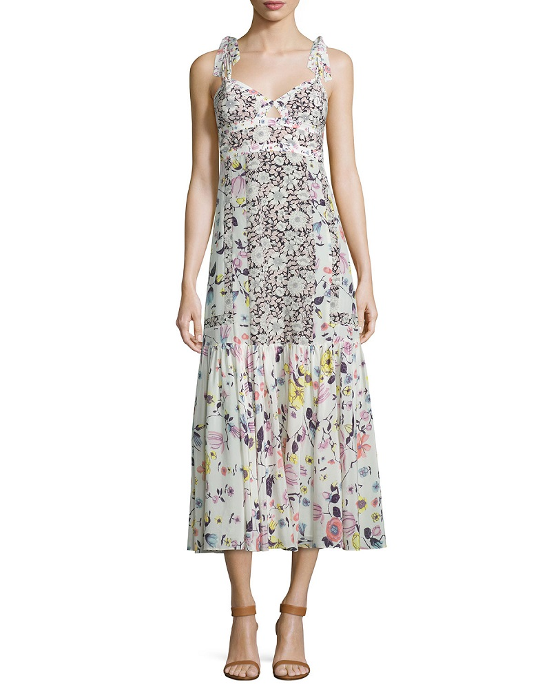 Rebecca Taylor Sleeveless Floral Silk Midi Dress